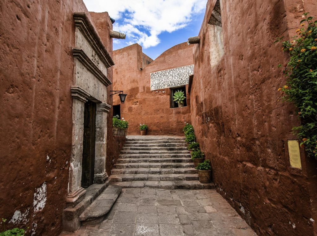 One of the many little streets in Santa Catalina Monastery, Arequipa, Peru