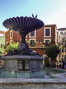Plaza del Baratillo colonial fountain in Guanajuato Mexico