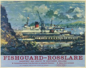 Vintage railway poster of Fishguard ferry terminal, Wales, UK