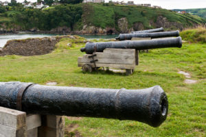 Cannons at Fishguard Old Fort, Wales, UK