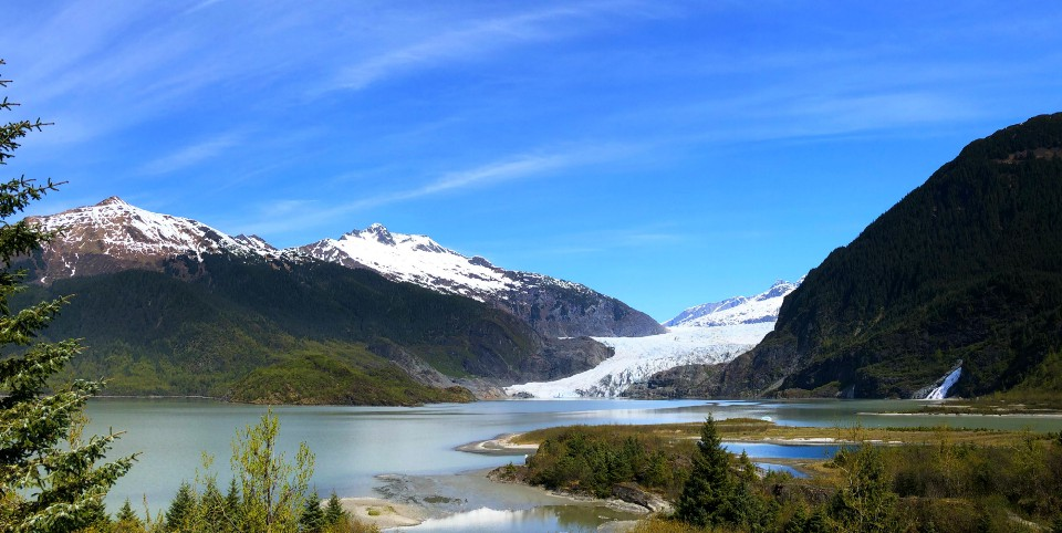 Mendenhall Glacier and Nuggett Falls from the Visitor Center, Alaska