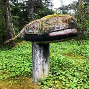 Memorial whale totem on the trail to Chief Son-I-Hat's Whale House, Kasaan, Alaska