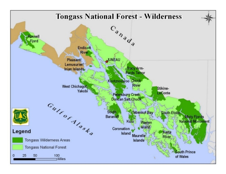 U. S. Forest Service map of the Tongass, with National Monuments and Wilderness Areas, Alaska
