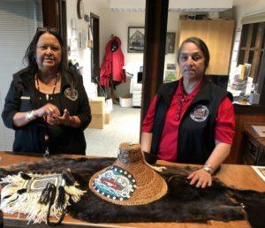 Staff at Sitka National Historic park show their Tlingit tribal craft work, Alaska