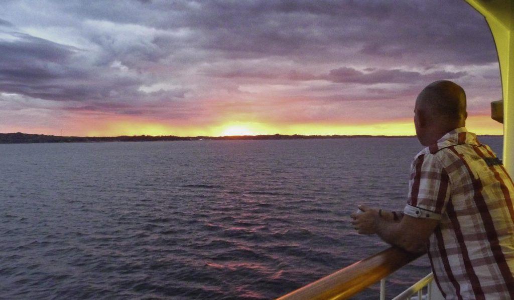 Hurtigen cruise on Midnatsol, sunset, Norway