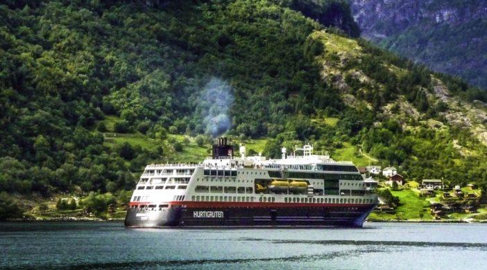 "Hurtigruten ""Midnatsol"" in Geiranger fjord, Norway"