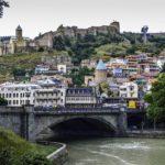 Metekhi Bridge and the Old Town of T'bilis, Republic of Georgia