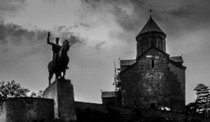 Statue of King Vakhtang Gorgasali, the founder of Tbilisi, and Metekhi Church, T'bilisi, Republic of Georgia