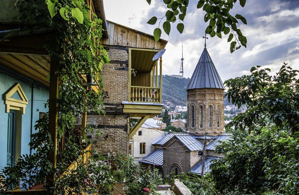 Walking in Old Tbilisi: Lower Betlemi Church, with Mount Mtatsminda in the background, T'bilisi, Republic of Georgia