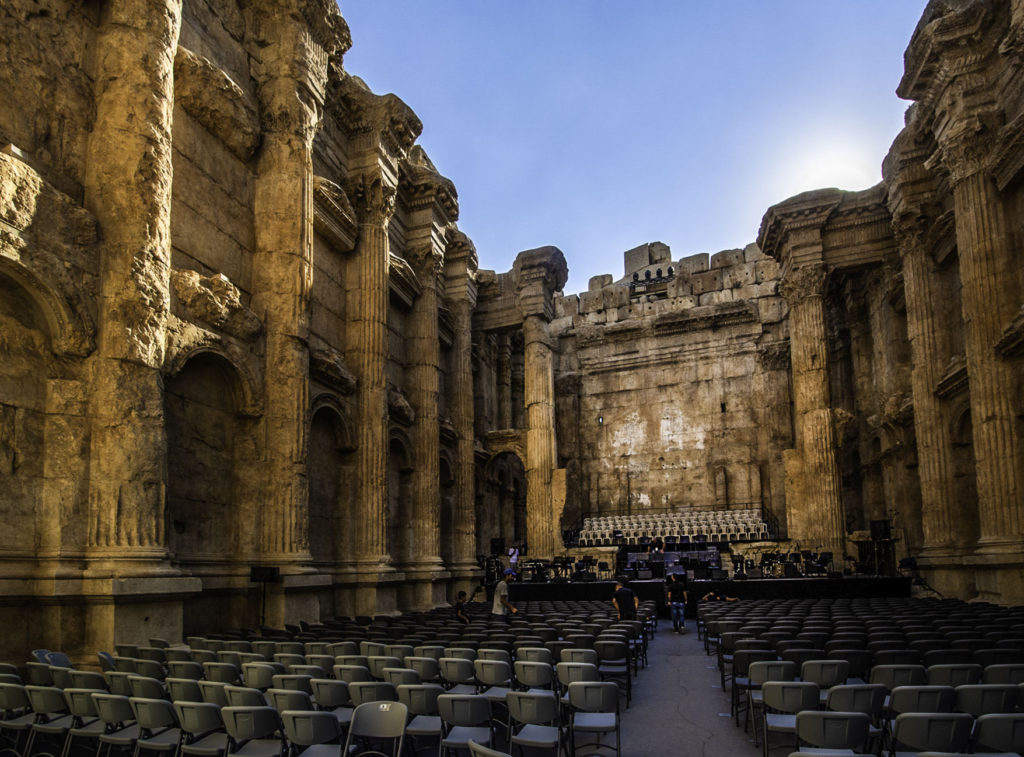 Inside the Temple of Bacchus in Baalbek, Bekaa Valley, Lebanon