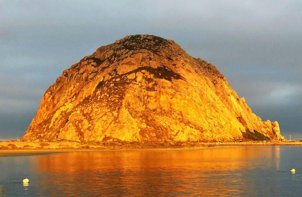 Moro Rock at sunrise from Anderson Inn, Moro Bay, California