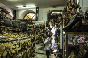 Leather shop in the Plaka, Athens, Greece
