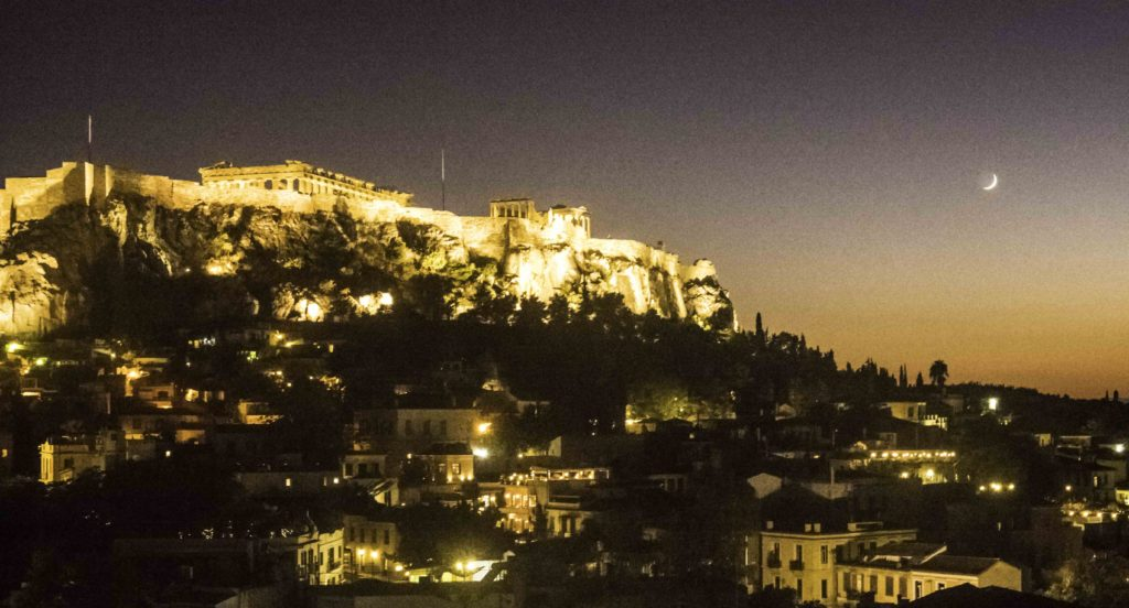 Sunset over the Acropolis, Athens, Greece