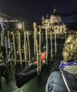 Gondola in Venice lagoon, Venice, Italy