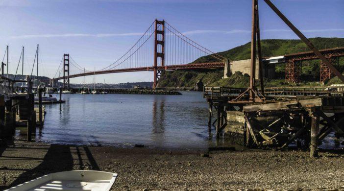 Golden Gate Bridge from Travis Marina, Fort Baker, Marin Headlands, Golden Gate National Recreation Area, San Francisco, California