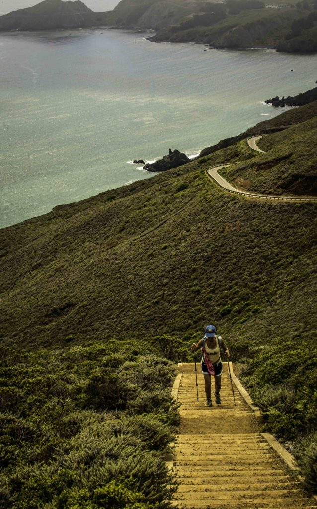 Stairs from Conzelman Road up to Battery 129 on Hawk Hill, Marin Headlands, Golden Gate National Recreation Area, San Francisco, California