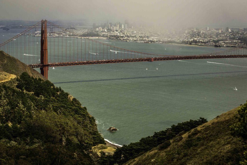 View of the Golden Gate Bridge from Conzelman Road, Marin Headlands, Golden Gate National Recreation Area, San Francisco, California