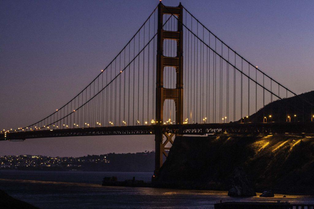 View of the Golden Gate Bridge fromCavallo Point Resort, Fort Baker, Golden Gate National Recreation Area, San Francisco, California