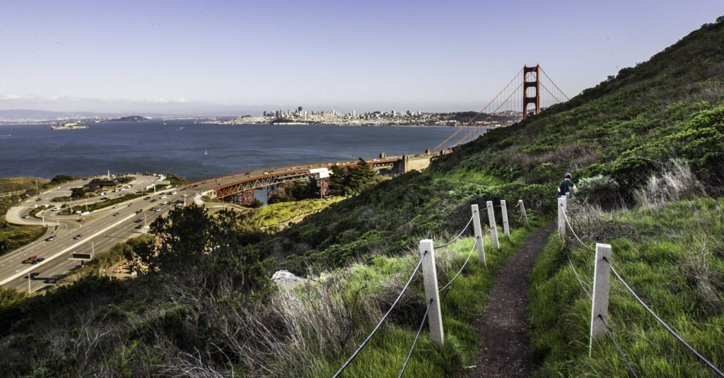View of the Golden Gate Bridge from the SCA Trail, Marin Headlands, Golden Gate Recreation Area, San Francisco, California