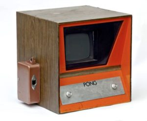 The Pong prototype video game on display at the Computer History Museum, Palo Alto, California