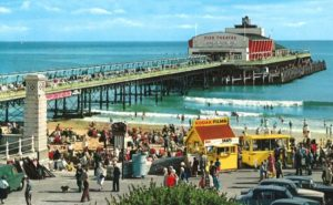 Bournemouth Pier from West Cliff. Postcard photo by John Hinde, circa 1950