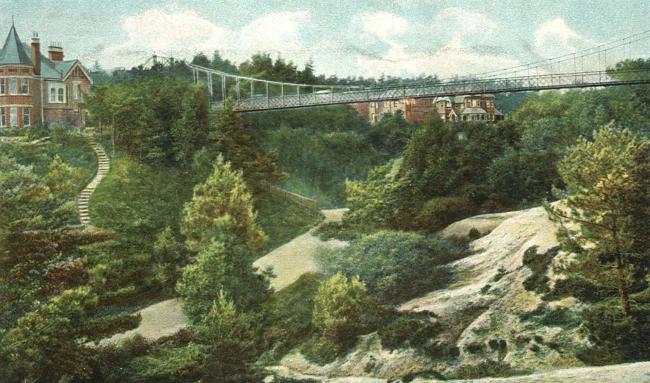 Alum Chine Suspension bridge. Postcard circa 1920