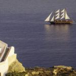 Santorini caldera sailboat