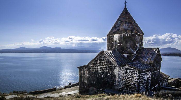 Sevanavank monastery on the shores of Lake Sevan, Armenia