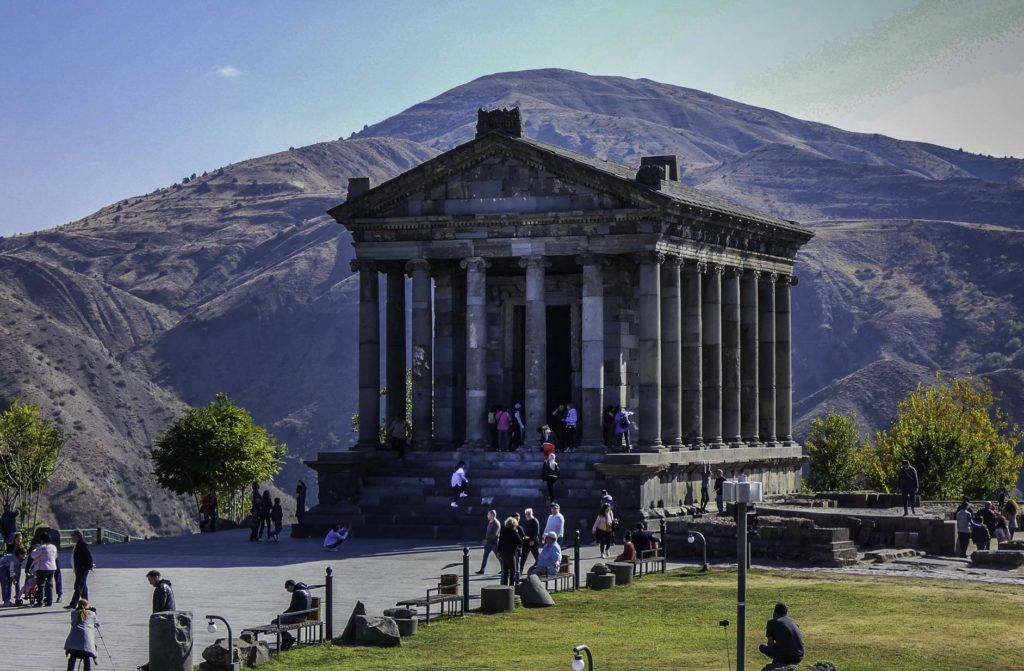 Treasures of Armenia, the Temple of Garni on the cliff of a gorge, Armenia