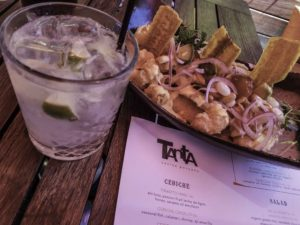 "The restaurant ""Tanta"", Gin and Tonic and ceviche, Chicago, Illinois"