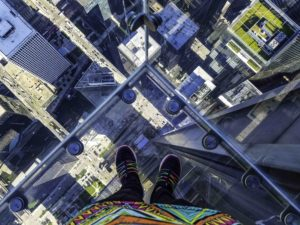 Willis Tower view from The Ledge, Chicago, Illinois