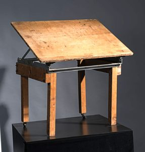 Steinbeck's draftsman's table in Bruton Museum. Courtesy: Bruton Museum