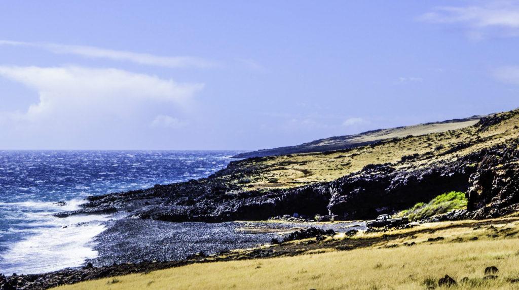 Black rock beach near Nu'u Bay, Maui, Hawaii
