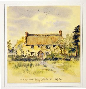 Discove Cottage, Somerset, UK, painting by Betty Guy for Elaine and John Steinbeck in May 1959. Courtesy: Betty Guy.