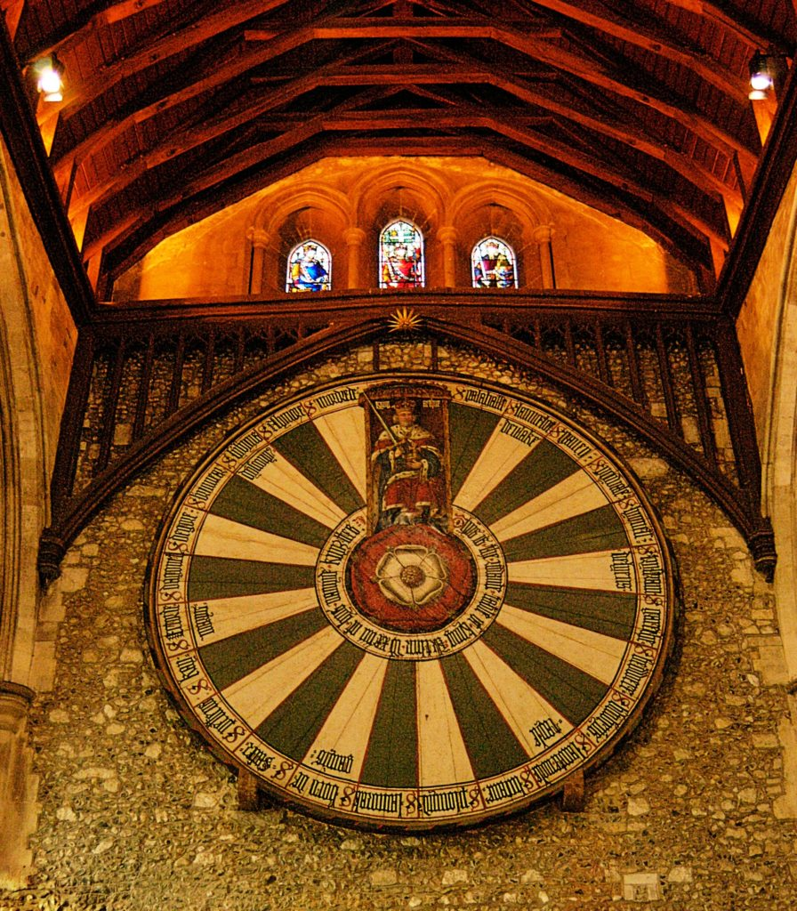 Medieval replica of the Round Table in Winchester Castle, UK