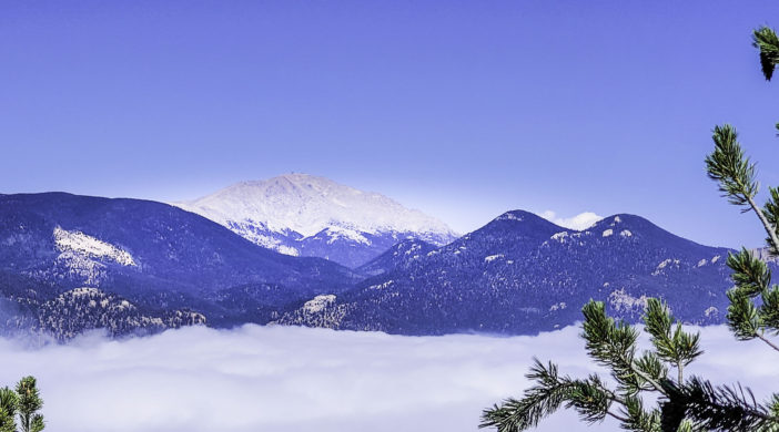 Pikes Peak viewed from Cloud Camp, The Broadmoor, Colorado Springs, Colorado