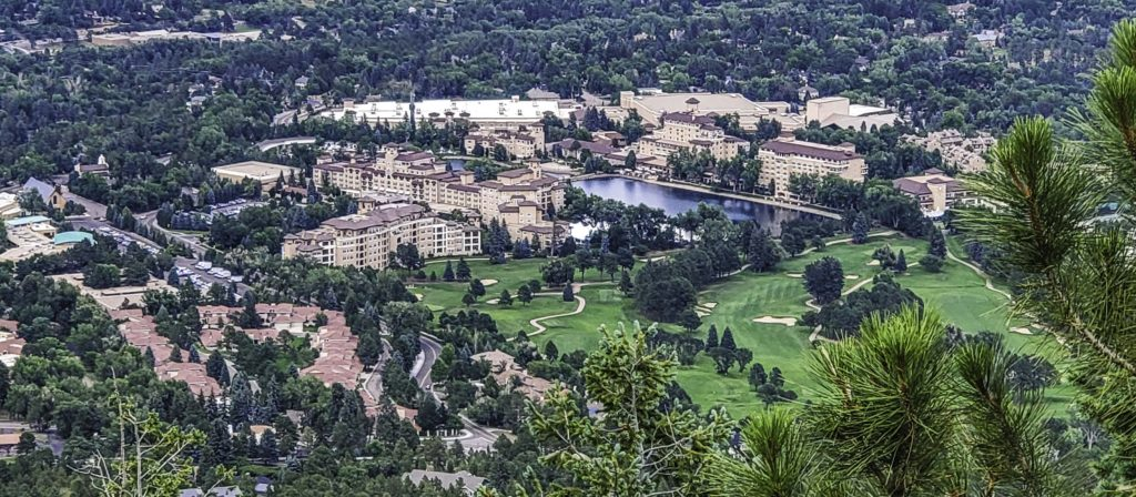 The Broadmoor and Colorado Springs on route to Cloud Camp, Colorado Springs, Colorado