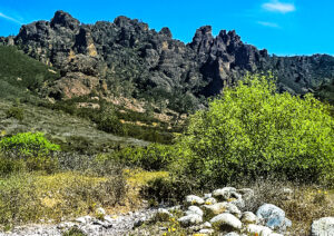 The jagged High Peaks ridge of Pinnacles National Park from the west.