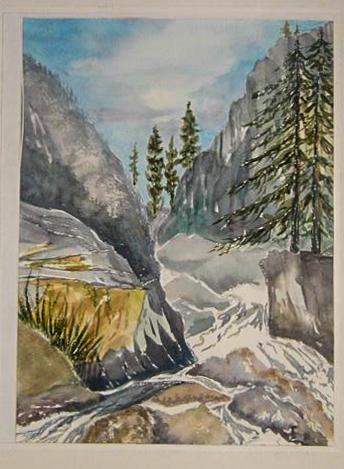 Watercolor of Yosemite in Winter, California