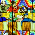 Rainbow Shabbat Stained Glass, Judy Chicago exhibit, San Francisco Museum of Modern Art, San Francisco, California